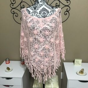 Toffee Apple Knit Poncho with Sequins OS NWT